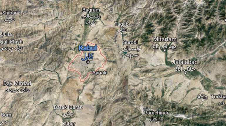 Suicide Attack In Kabul Killed 26 Civilians. Image credit: Google map
