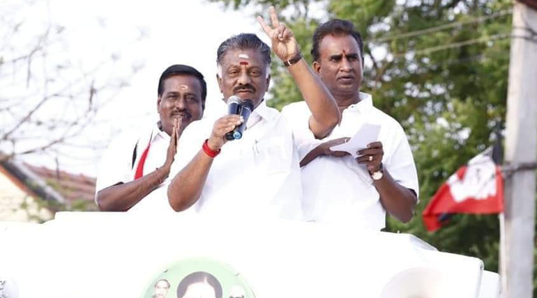 Deputy CM OPS with SP Velumani and Kanthasamy (Sulur ADMK Candidate)