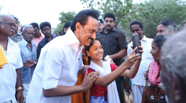 DMK President Stalin Posing in between the Campaign