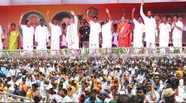 AIADMK and BJP Coalition Party Leaders in a Rally